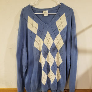 Lacoste v-neck white blue argyle sweater Sz 8